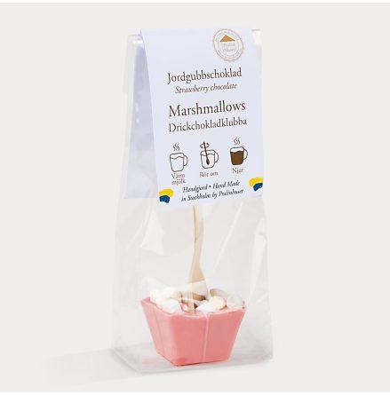 Drickchokladklubba - Jordgubbschoklad & Marshmallows