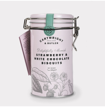 Strawberry & White Choc Chunk Biscuits Plåt Rosa