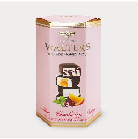 Chokladöverdragna nougatbitar med Mint,Tranbär & Apelsin